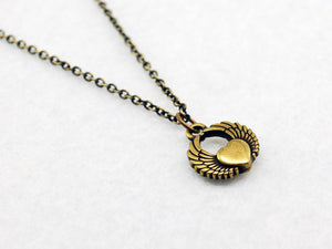 Antique Brass Heart with Wings Charm Necklace - LuvCherie Jewelry