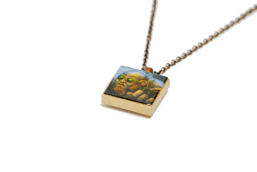 Gnome World of Warcraft Necklace in Antique Copper