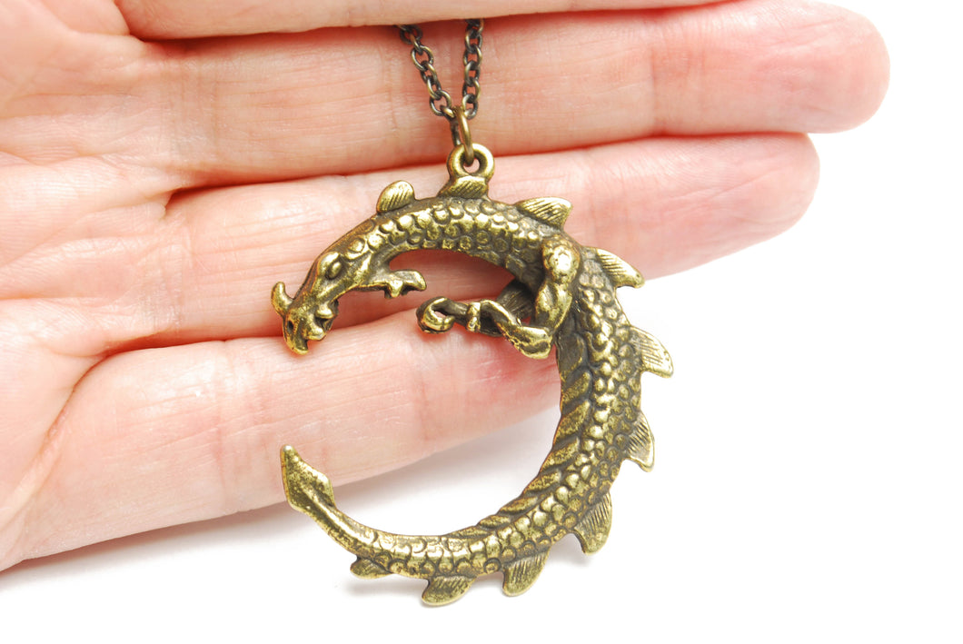 Large Serpent Dragon Necklace in Antique Brass