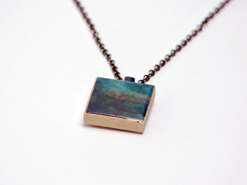 Blue and Gray Abstract FFXI Necklace in Gunmetal