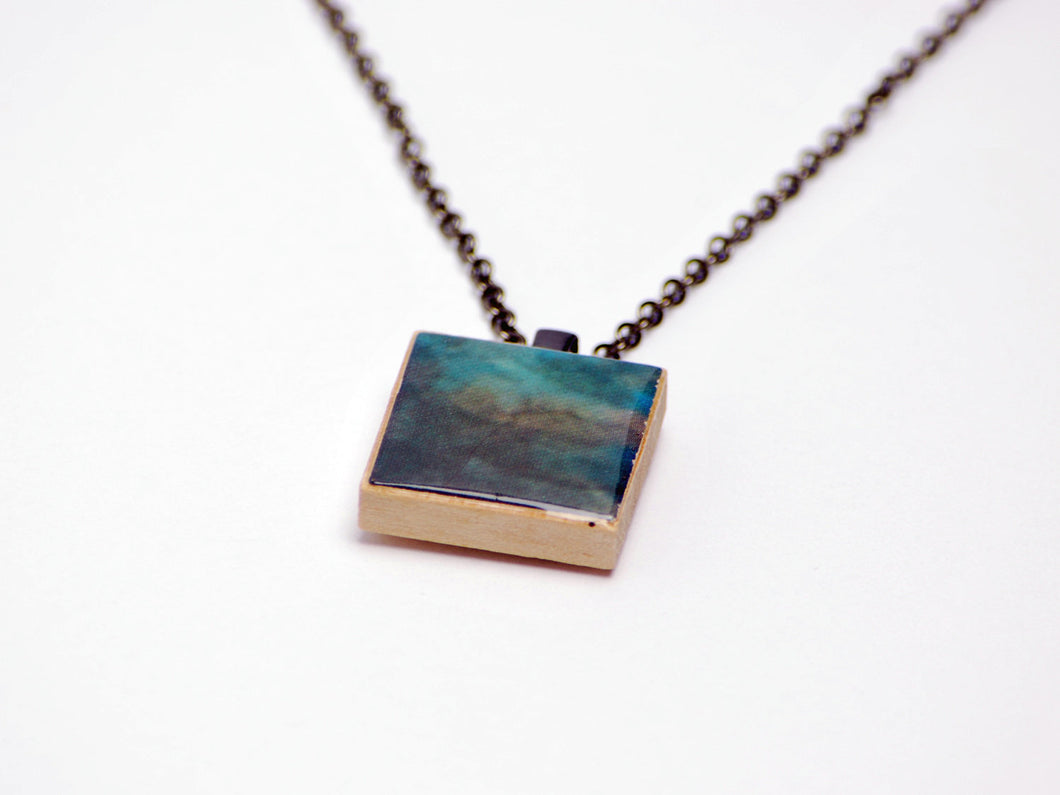 Upcycled Blue and Gray Abstract FFXI Necklace in Wood and Gunmetal - LuvCherie Jewelry