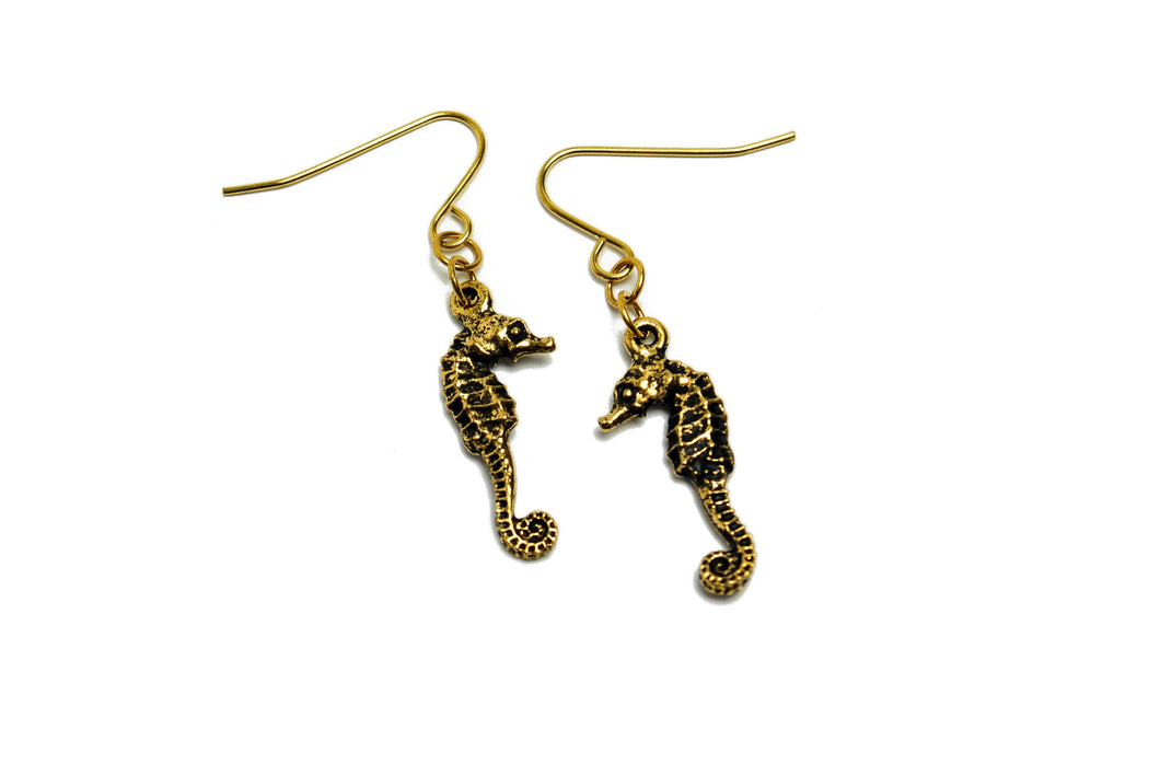 Seahorse Earrings in Gold