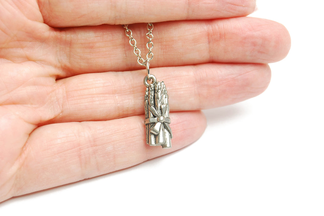 Asparagus Necklace in Silver