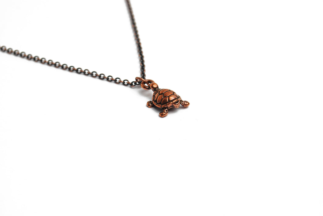 Turtle Necklace in Antique Copper