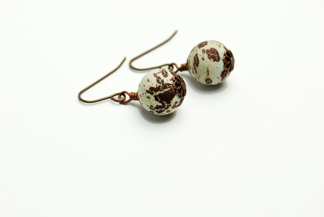 Abstract Clay Earrings in Antique Copper