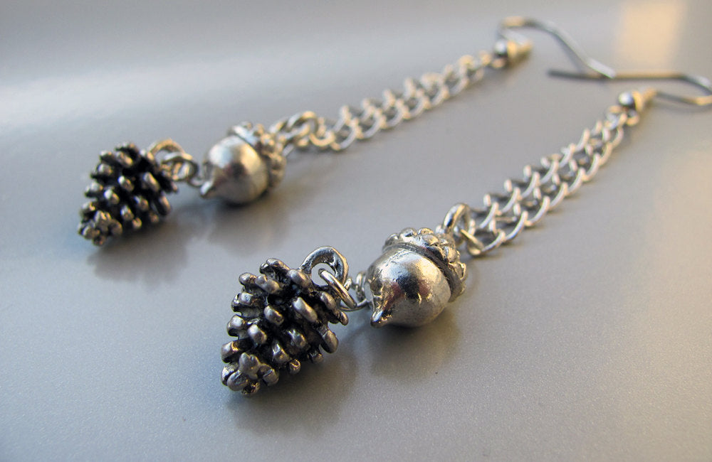 Silver Pine Cone & Acorn Earrings - Pinecone Earrings, Pine Cone Earrings, Woodland Earrings, Winter Earrings, Autumn Earrings, Fall, Nature