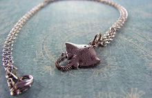 Silver Stingray Necklace - Silver Mantaray Necklace. Silver Ray Necklace. Gift for Scuba Diver,  Snorkler, or Marine Biologist.