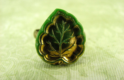 Green & Gold Leaf Ring in Antique Brass - Green Leaf Ring, Gold Leaf Ring, Elf Ring, Vintage Leaf Ring, Adjustable Ring, Limited Edition