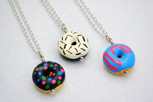 Large Ceramic Doughnut Necklaces in Silver - LuvCherie Jewelry