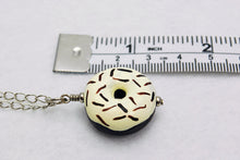 Large Vanilla Icing and Chocolate Sprinkles Ceramic Doughnut Necklace in Silver - LuvCherie Jewelry
