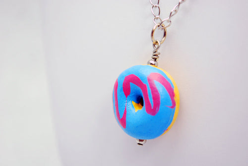 Donut Necklace with Blue and Pink Icing in Silver