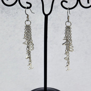 Silver 221B Sherlock Inspired Chain Dangle Earrings - LuvCherie Jewelry