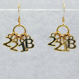 221B Sherlock Earrings in Gold
