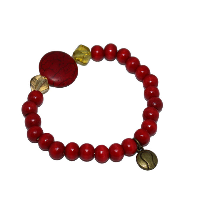 Tennis Ball Red wood Bead Bracelet