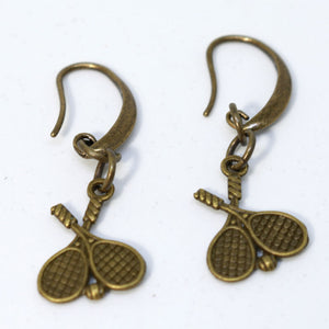 Bronze Dual Tennis Racket Earrings - Small Kidney Earring