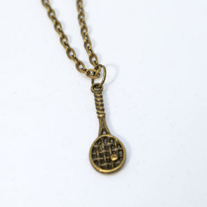 "18"" Bronze Small Tennis Racket Necklace"