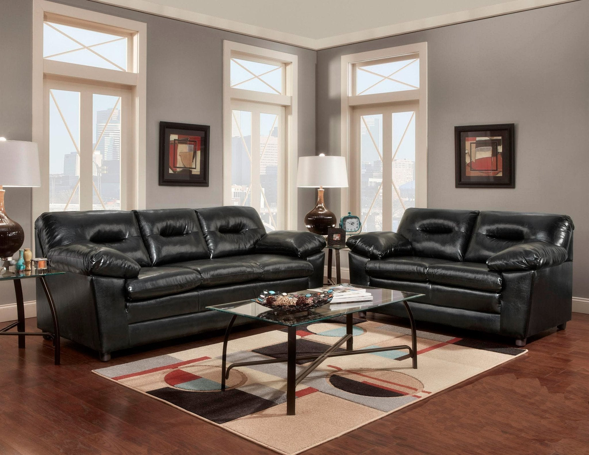 Denver Bonded Leather Sofa U0026 Loveseat   Black   By Washington