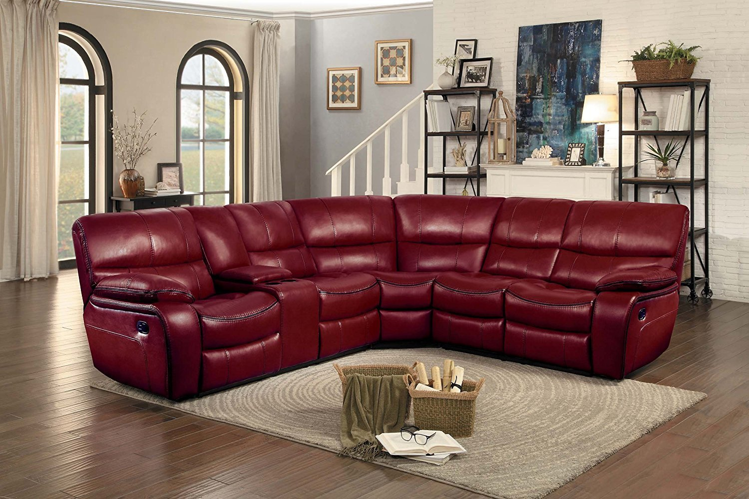 8480 Pecos Leather Gel Reclining Sectional Red By Homelegance  ~ Red Reclining Sectional Sofa