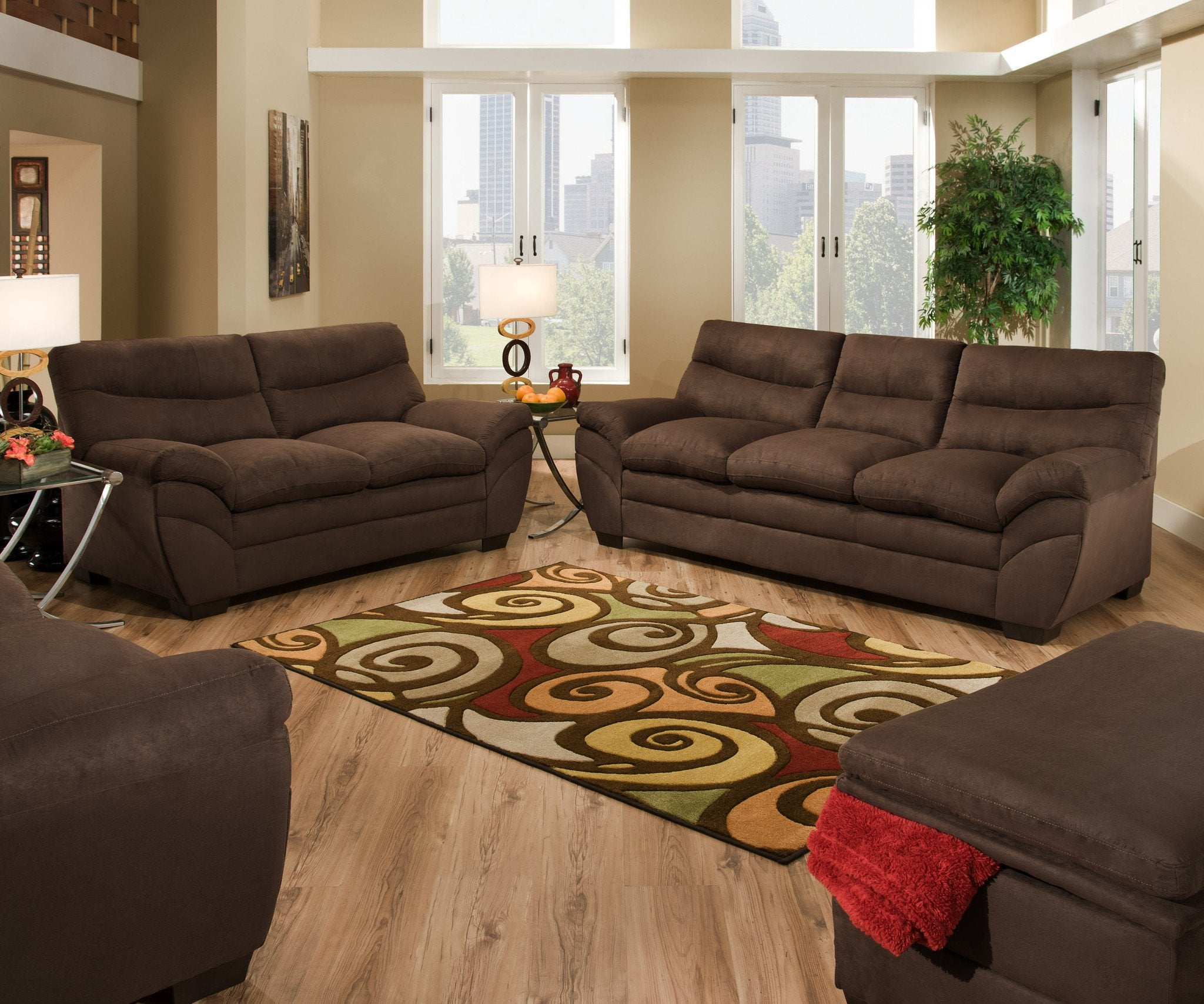 Luna Chocolate Sofa Loveseat By Simmons Beautyrest For The  # Muebles Luan Arbo