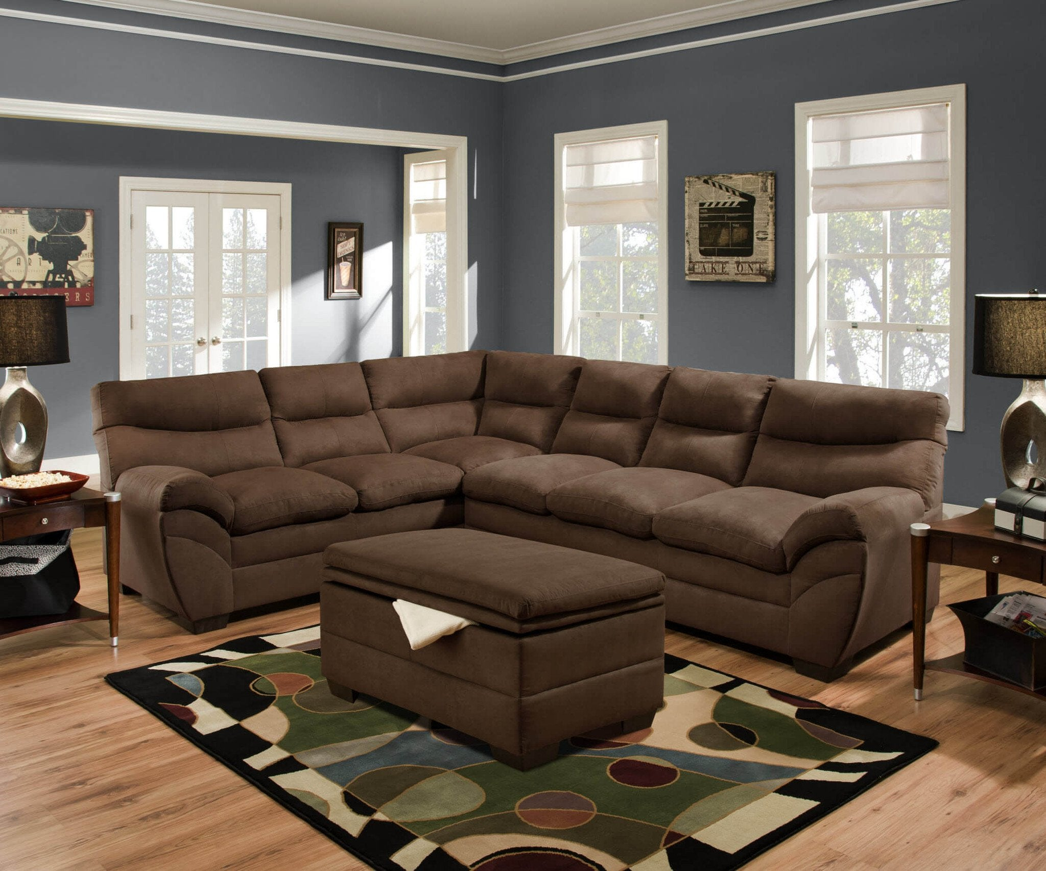 Luna Chocolate Sectional By Simmons Beautyrest For The Home Store # Muebles Luan Arbo