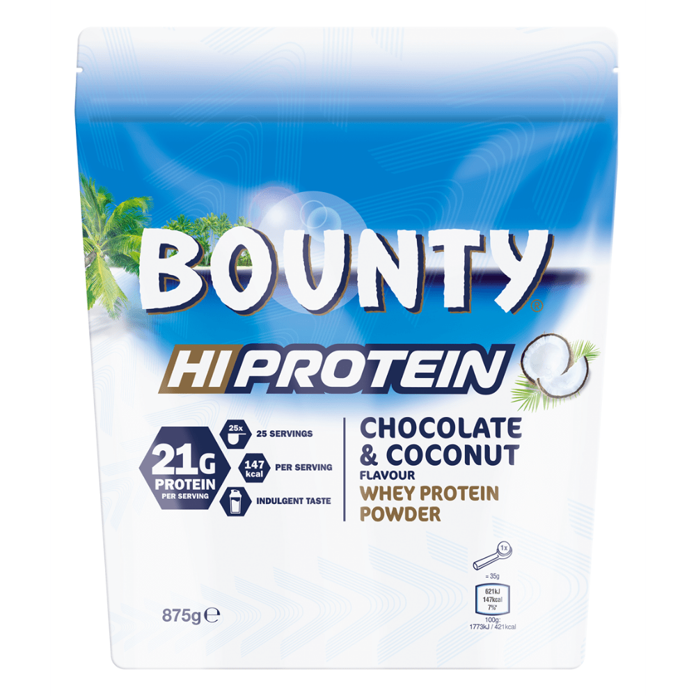 Bounty Hi-Protein Whey Powders 875-Grams - Chocolate and Coconut Flavoured - Protein Package UK