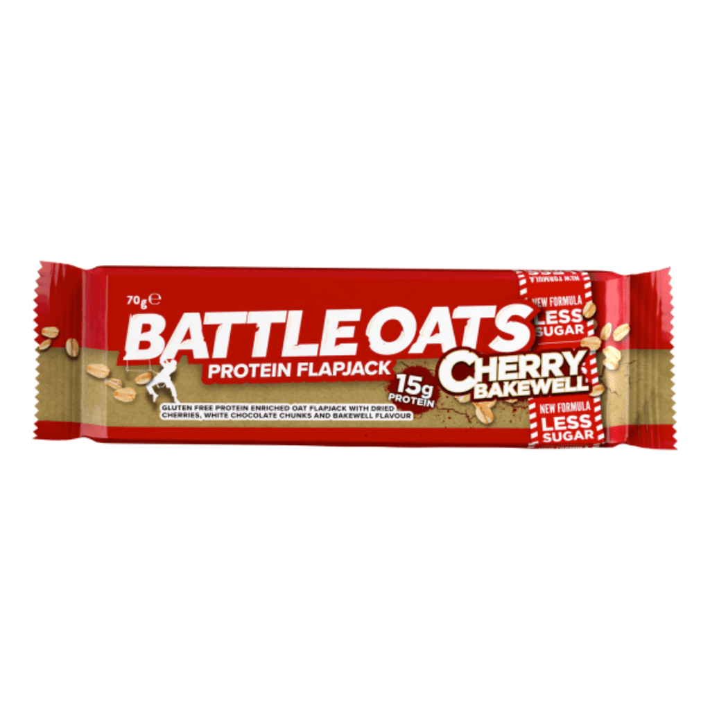 Battle Oats Protein Flapjack Cherry Bakewell - Protein Package - Single 70g Bars