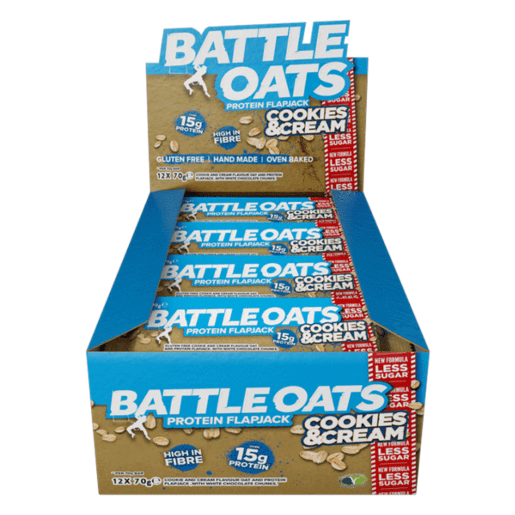 Battle Oats Protein Flapjack Cookies & Cream, Protein Flapjack, Battle Snacks, Protein Package Protein Package Pick and Mix Protein UK