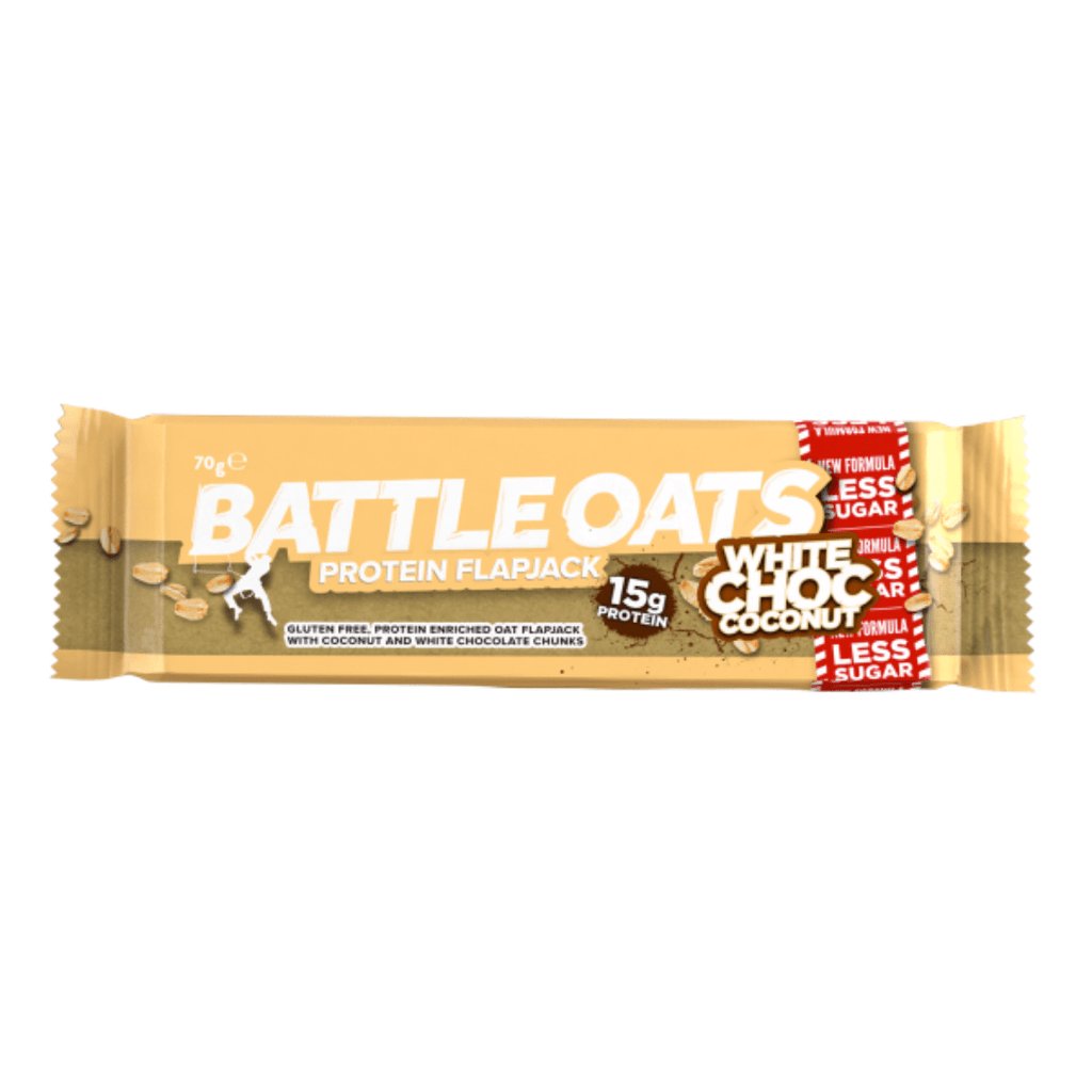 Battle Oats Protein Flapjack White Chocolate & Coconut, Protein Flapjacks, Battle Snacks, Protein Package Protein Package Pick and Mix Protein UK