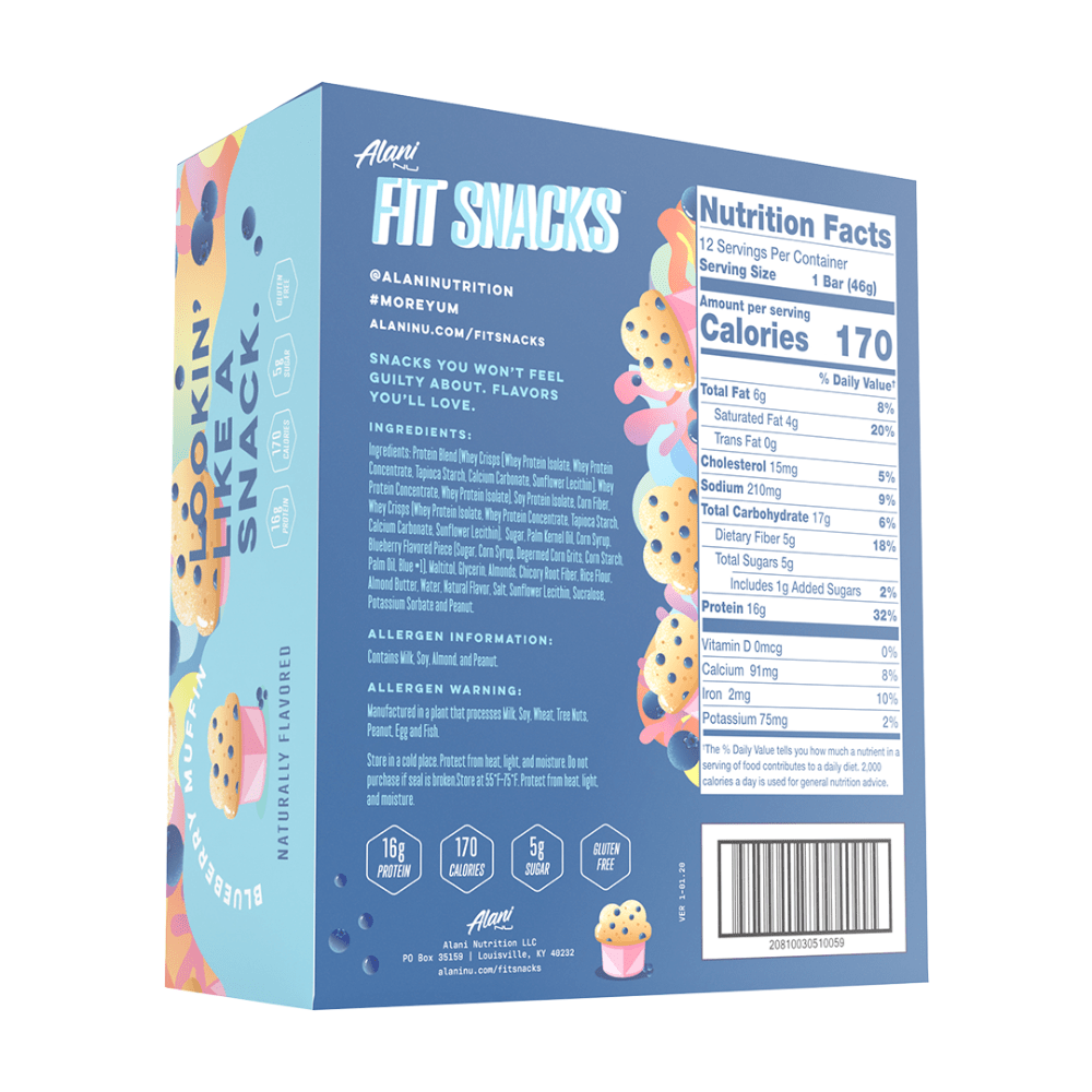 Alani Nu Fit Snacks Back of the box - 12x46-grams