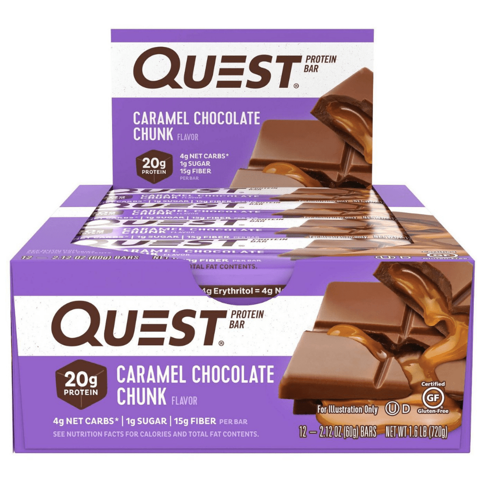 Caramel Chocolate Chunk Boxes Quest Nutrition x12 Protein Bars UK Protein Package