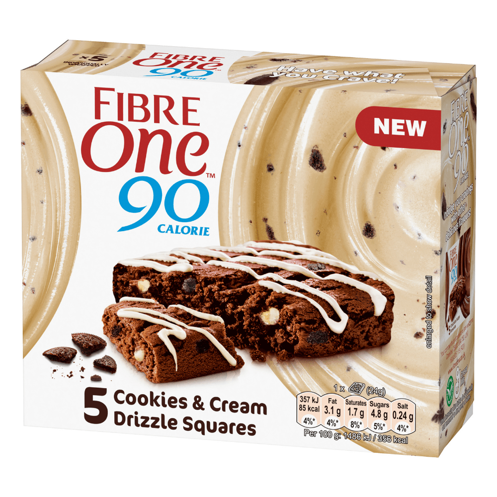 Cookies and Cream Fibre One 90 Low Calorie Bar Box (5 Bars)