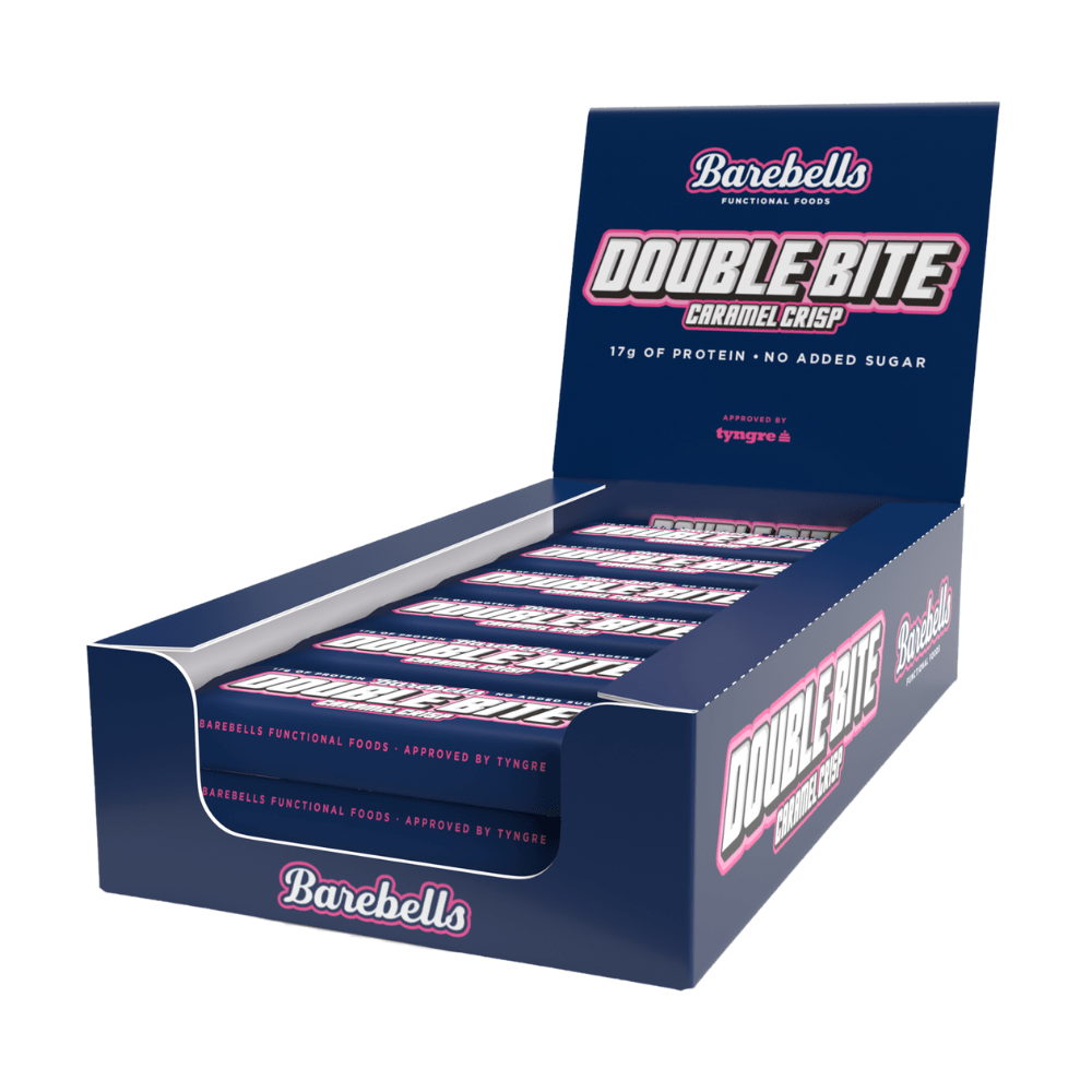 Barebells Double Bite Caramel Crisp No Added Sugar Healthy High Protein Bar Boxes of 12