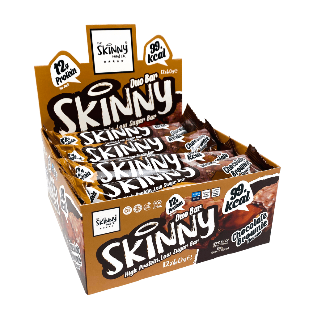The Skinny Food Co Chocolate Brownie Flavour Protein Bars UK 60g Boxes