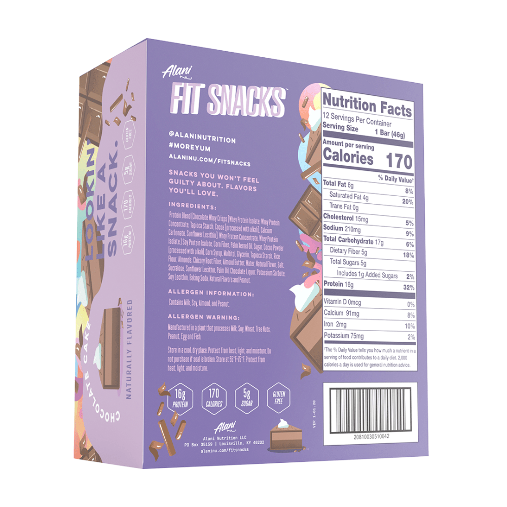 Back of the box - Alani Nu Supplements Fit Snacks Nutritional Information and Ingredients