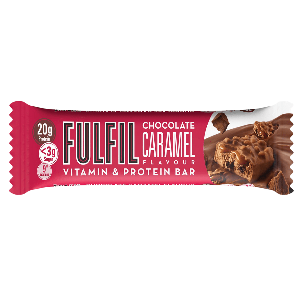 NEW Chocolate Craramel Flavoured Fulfil Nutrition Protein Vitamin Bars - 55-gram Single - Chocolate Caramel - Protein Package Limited