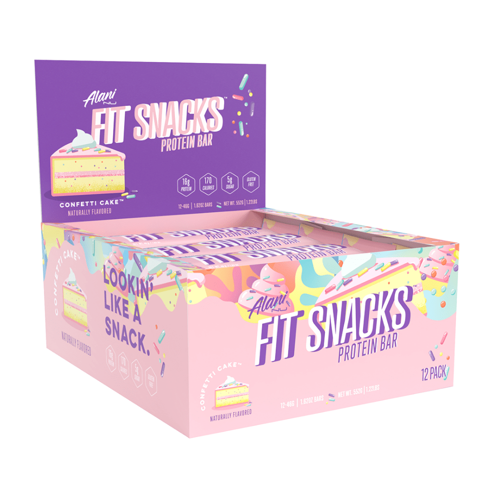 12 Pack of Confetti Cake Flavoured Fit Snacks High Protein Bars - Protein Package - 12 x 46-gram Fit Snacks Bars