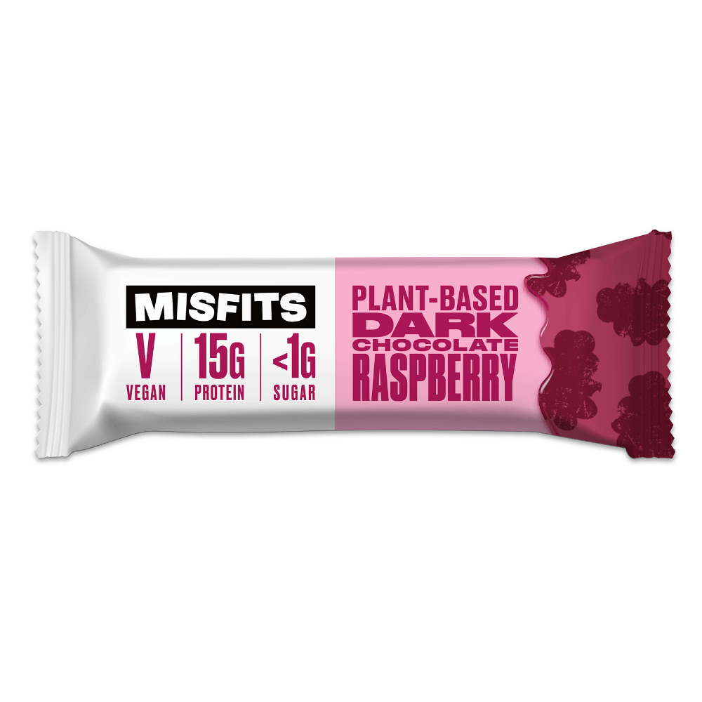 Misfits Vegan Protein Bar Dark Chocolate Raspberry, Protein Bars, Misfits Health, Protein Package Protein Package Pick and Mix Protein UK