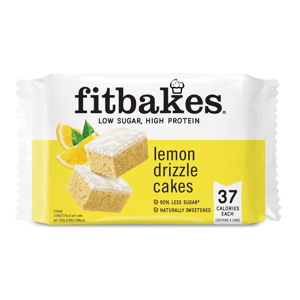 Fitbakes Low Sugar Protein Cake Lemon Drizzle (4 Cakes), Protein Cake, Fitbakes, Protein Package Protein Package Pick and Mix Protein UK