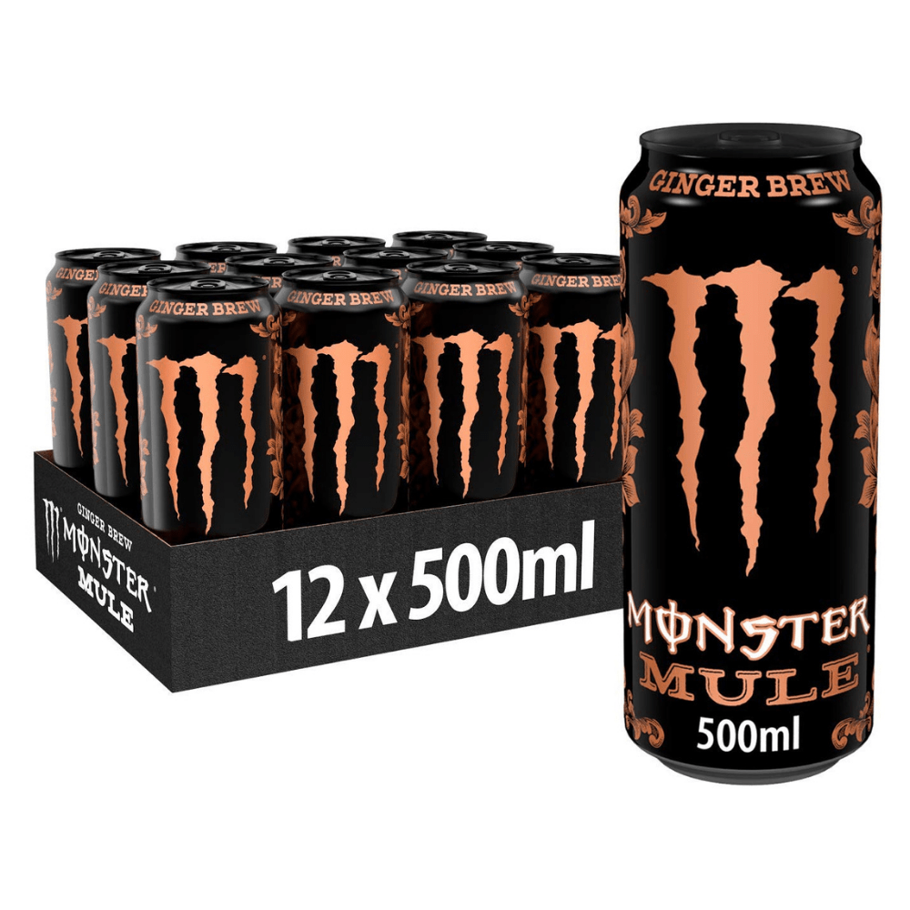 Crate of Monster Mule Zero Sugar Ginger Brew Energy Drinks