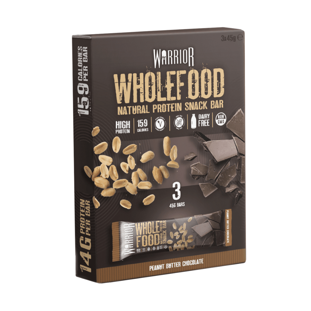 Warrior Wholefood Vegan Protein Bar Peanut Butter Chocolate (3 Bars), Protein Bars, Warrior, Protein Package Protein Package Pick and Mix Protein UK
