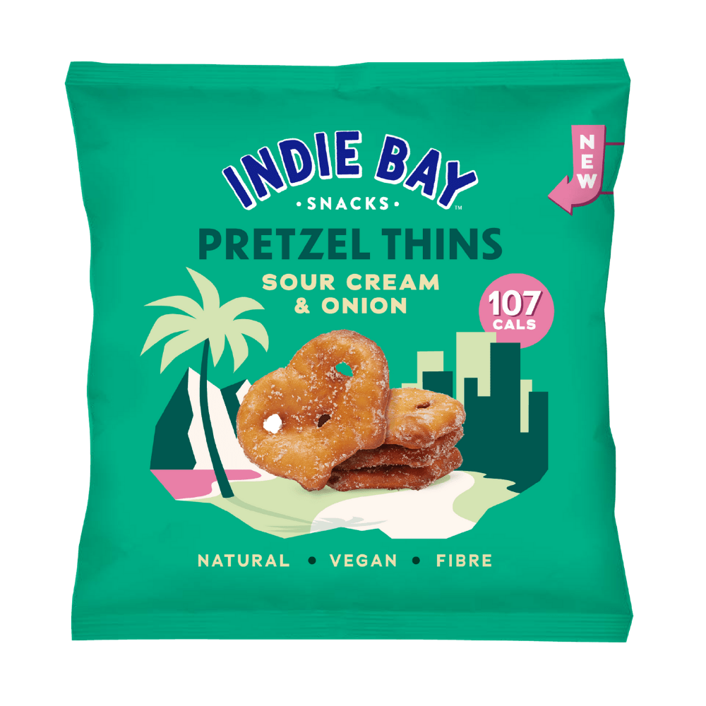 Sour Cream and Onion Protein Pretzel Thins by Indie Bay Snacks 24g Single Packets - Mix & Match UK - Protein Package LTD