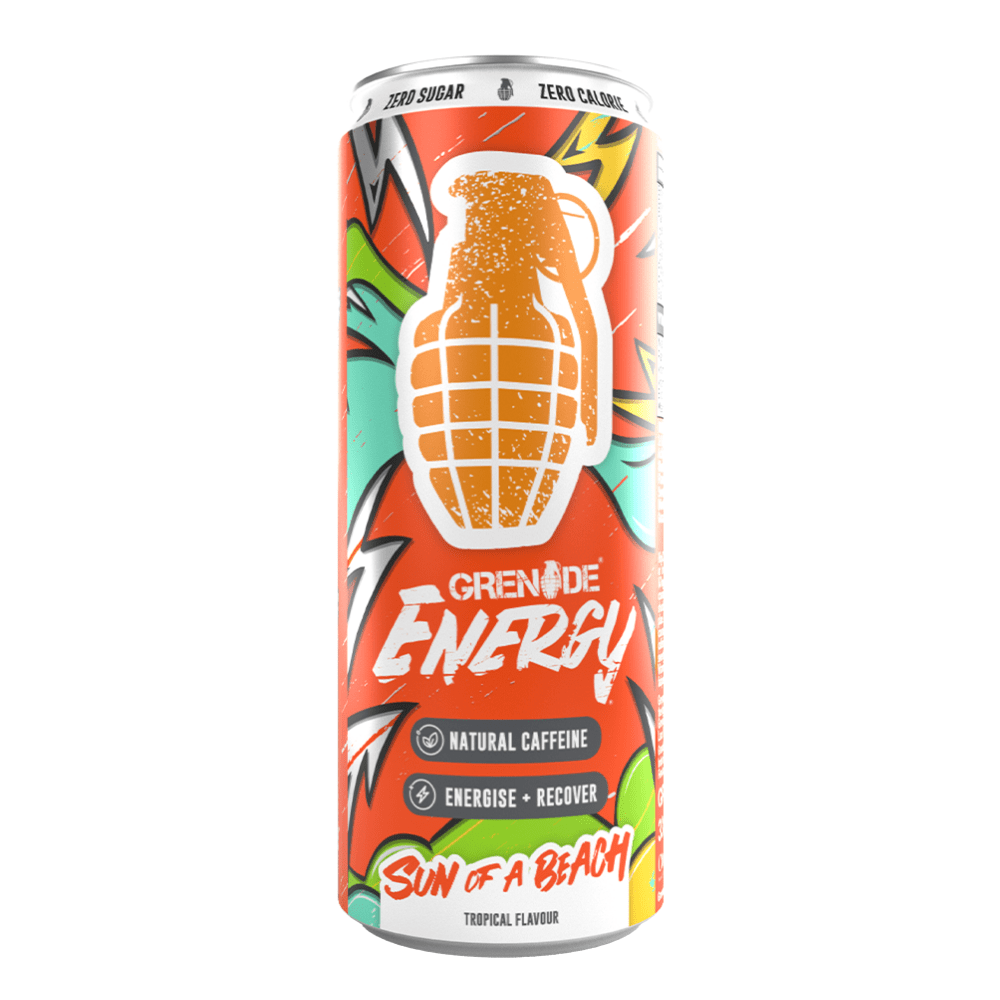 Sun of a beach - Tropical Flavoured Grenade Single Can Energy Drinks - Natural Caffeine - Zero Sugar - Zero Calories - 330ml Cans