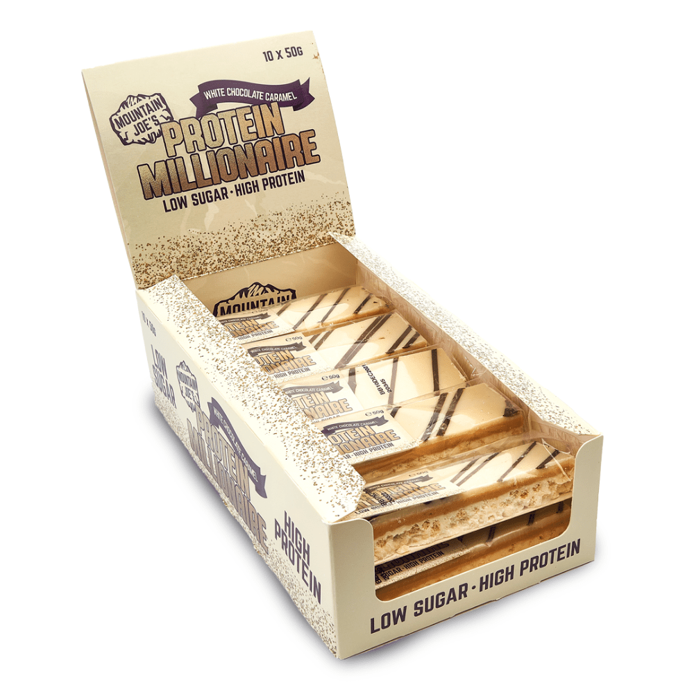 White Chocolate Caramel Low Sugar Protein Mountain Joe's Millionaire Crunch Bars