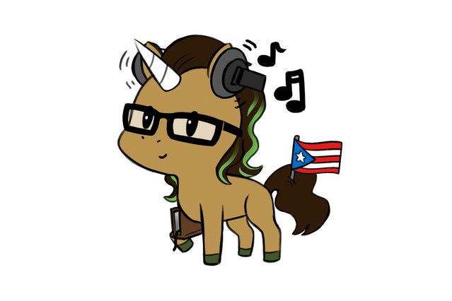Latina Unicorn with a Puerto Rican flag