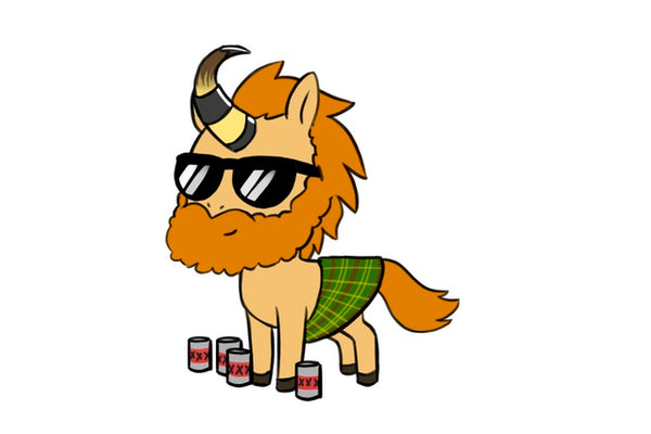 Kilt-wearing Dutchman Unicorn with a Beard