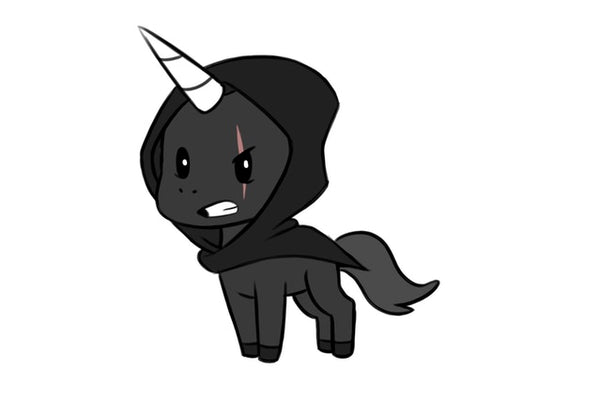 Shadowy Cloaked Unicorn with a Scar