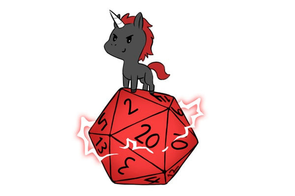 Unicorn playing with a giant D20