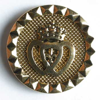 Crown Antique Gold Plated Polyamide Button