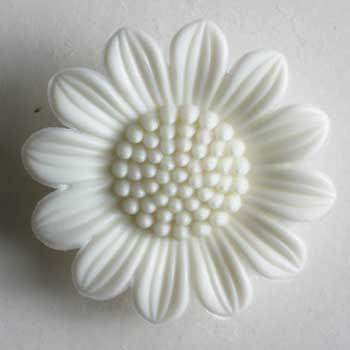 White Flower Polyamide Button