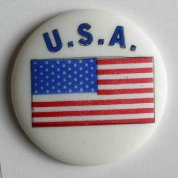 White American Flag Polyamide Button